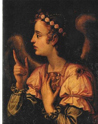 """Ángel de la Anunciación, de Francisco Pacheco (1623).  Foto: """"Patrimonio Artístico y monumental de las universidades andaluzas"""""""