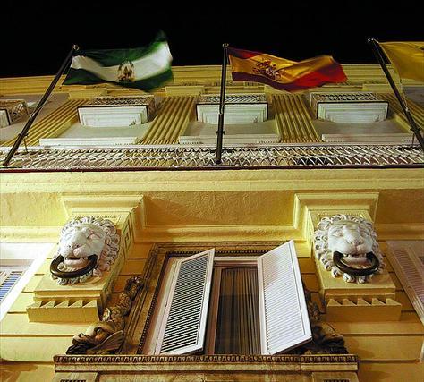 Detalle de la casa palacio del siglo XVIII conocida que acoge el Rectorado de la Universidad de Cádiz.