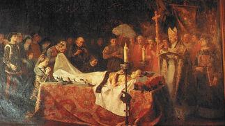 """""""La muerte del príncipe de Viana"""" (1887), de Vicente Poveda, expuesto en el Rectorado de Granada.  Foto: """"Patrimonio Artístico y monumental de las universidades andaluzas"""""""