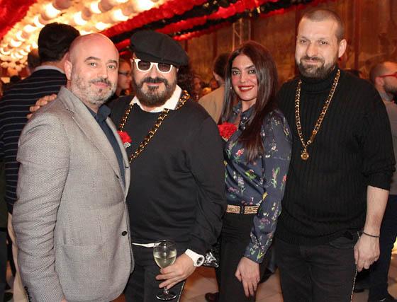 El diseñador Antonio García, con Felipe Vivas y Manuel Carrión, diseñadores de Tolentino, y Eva Ávila  Foto: Victoria Ramírez