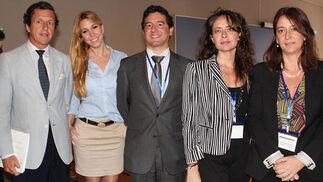 Luis García de Tejada (Fundación Valentín de Madariaga), Pilar Kraan (Fundación Grupo AZVI), Ricardo Galán y Ana Manzanares, de Fundación Ayesa, y Claudia Guardiola (Fundación Cruzcampo).   Foto: Victoria Ramírez