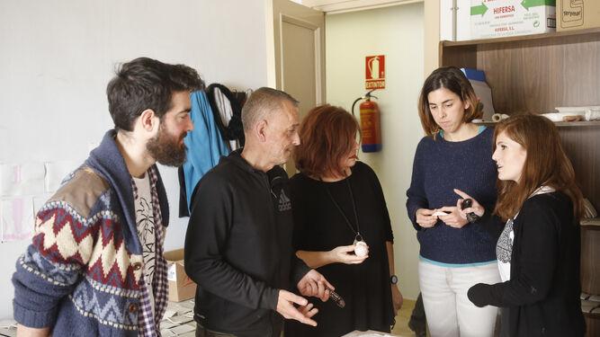 Los artistas becados por la Facultad de Bellas Artes de Málaga.